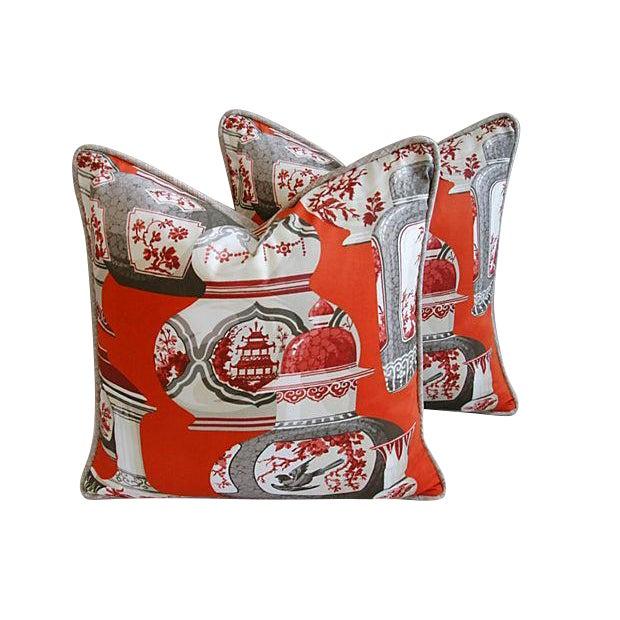 Custom Braemore Chinoiserie Vase Pillows - Pair - Image 1 of 8