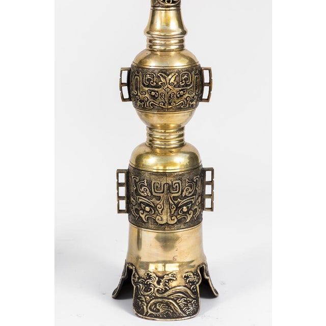 19th Century Chinese Bronze Altar Stick Lamps - a Pair For Sale - Image 4 of 7