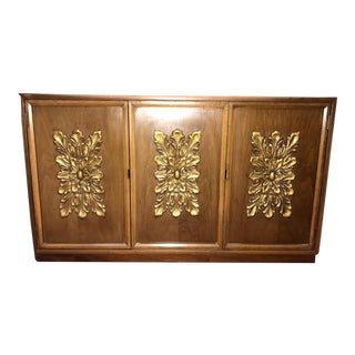 Mid Century 3-Door Buffet Server With Gilded Carved Detailing For Sale