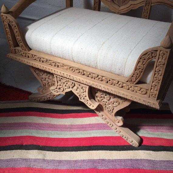 Early 20th Century Antique Carved Wooden Elephant Saddle Chair With Hand Woven Textile Cushion For Sale - Image 5 of 11