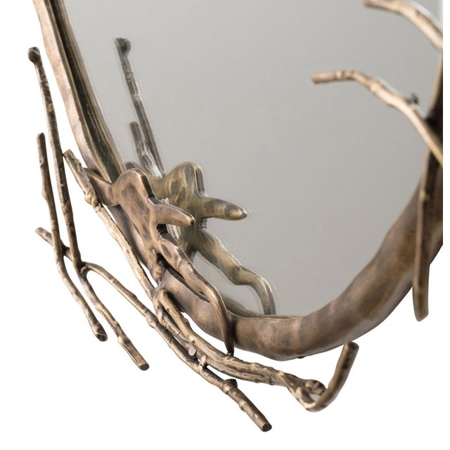 Arteriors Home Transitional Arteriors Home Brass Ivy Wall Mirror For Sale - Image 4 of 9