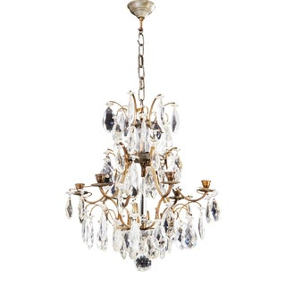 Vintage 1930's Rococo 6 Arm Crystal Chandelier With Cut Crystals For Sale