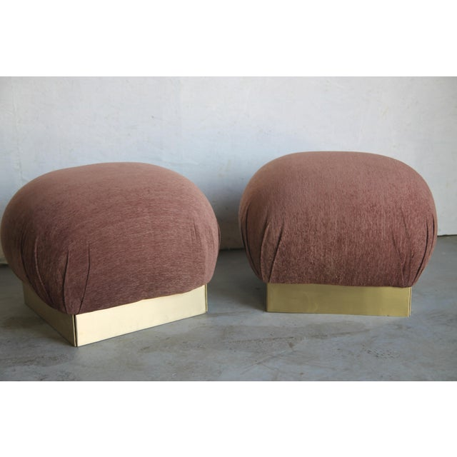 1970s 1970s Vintage Pouf Ottomans in the Style of Karl Springer - a Pair For Sale - Image 5 of 6