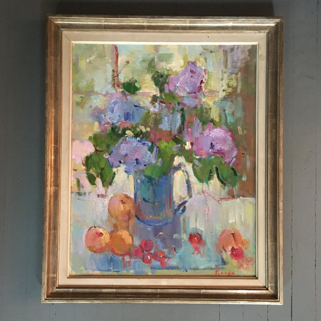 """""""Lilacs in a Blue Jug"""" Painting by Kanya Bugreyev For Sale - Image 11 of 11"""