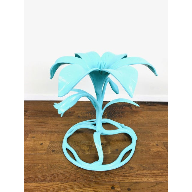 Metal Vintage Arthur Court Style Lily Side Table For Sale - Image 7 of 9