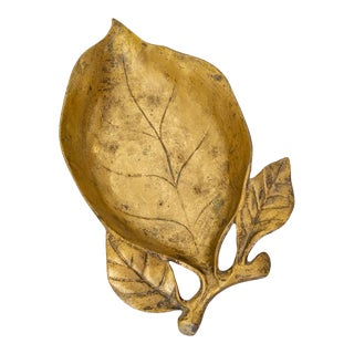 Gold Leaf Dish, Traditional Holiday Home Decor, Cast Iron For Sale