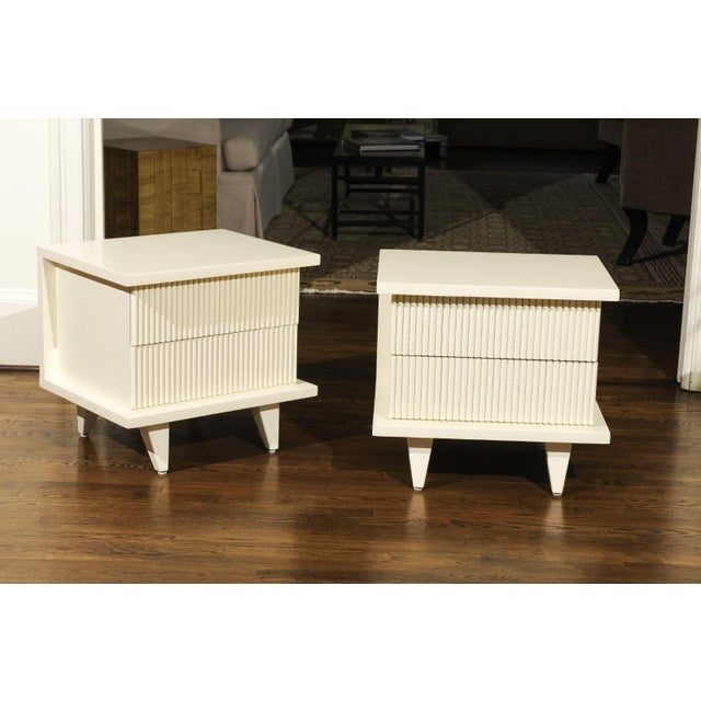 Lacquer 1938 Pair of Restored End Tables by Widdicomb in Cream Lacquer For Sale - Image 7 of 13