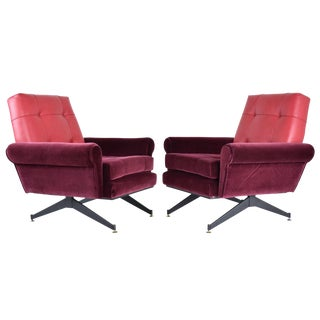 Italian Vintage Mid-Century Velvet Steel Armchairs- a Pair For Sale