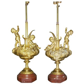 Pair of 19th Century Ormolu Figural Lamps For Sale