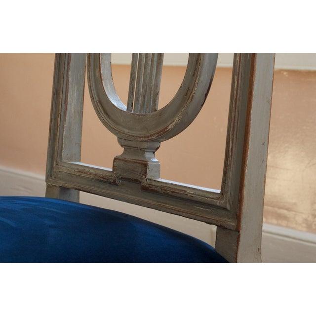 Maison Jansen French Louis XVI Lyre Back Dining Chairs in Blue Indigo Velvet For Sale - Image 4 of 8