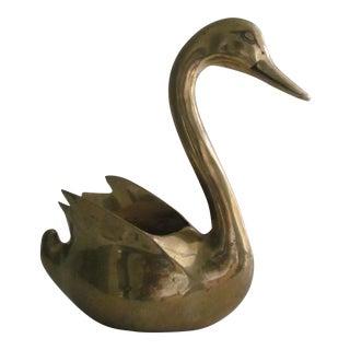 Vintage Brass Swan Planter
