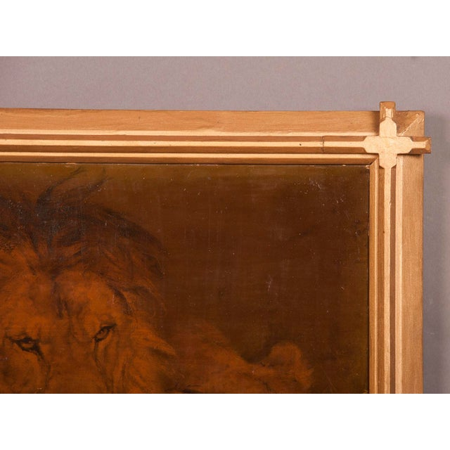 1930s Gilded Framed Oil Painting of Lion For Sale - Image 4 of 7