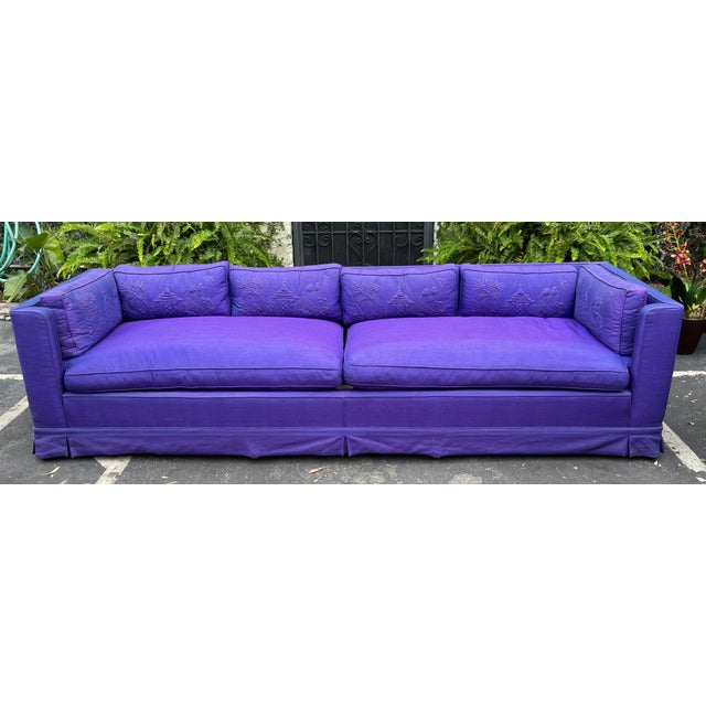 Purple Grosfeld House Hollywood Regency Mid Century Modern 9' Low Sofa For Sale - Image 8 of 8