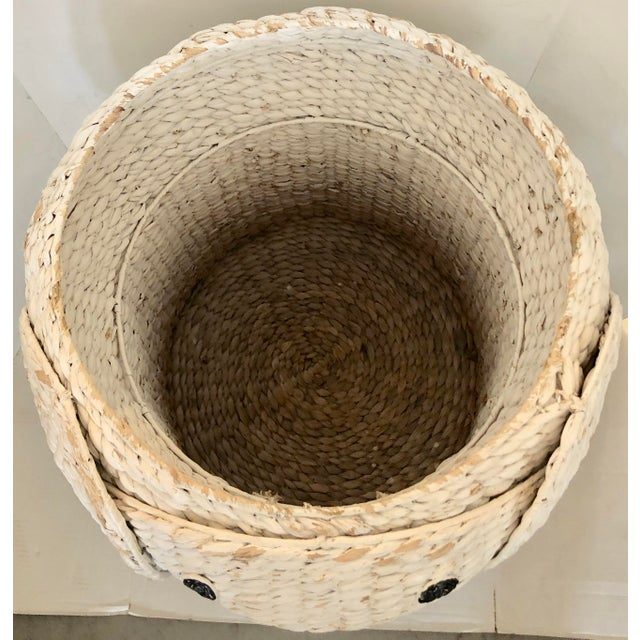 Boho Chic XL Elephant Basket With Lid For Sale - Image 3 of 11