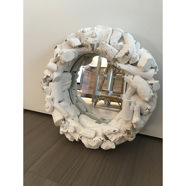White Washed Organic Driftwood Round Mirror For Sale - Image 4 of 5