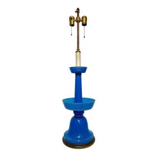 Warren Kessler 1940's Hollywood Regency Blue Opaline Glass Lamp For Sale