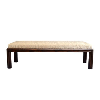Long McGuire Rattan Bench With Fabric Upholstery For Sale