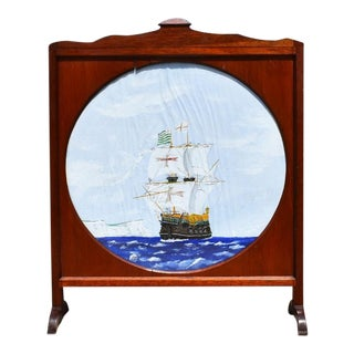 Painted Nautical Yacht Scene Wood Fireplace Screen on Canvas For Sale