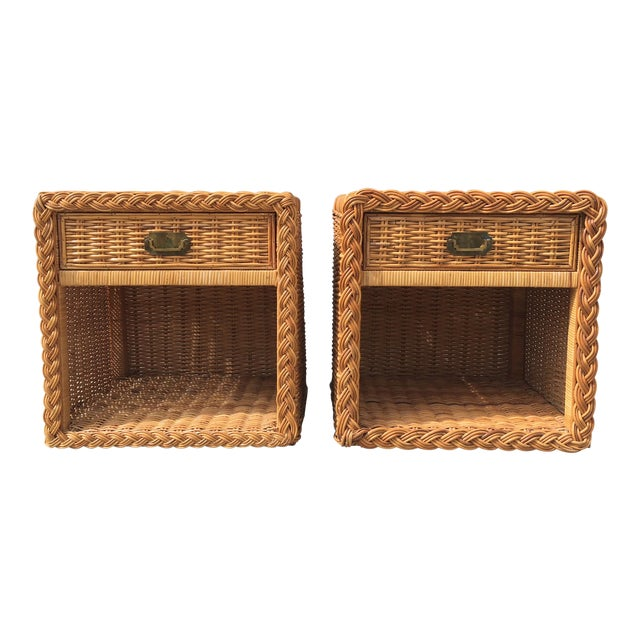 1970s Wicker Works Rattan Campaign Style Nightstands-a Pair For Sale