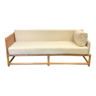 1960s Bamboo and Rattan Reupholstered Daybed For Sale