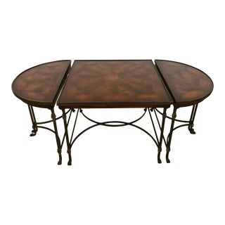 Vintage Traditional 3 Piece Bronze and Burled Wood Coffee Side Table Set - 3 Pieces For Sale