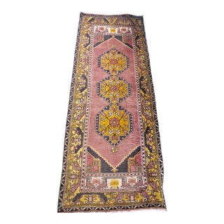 Turkish Vintage Pink Rug - 3′4″ × 8′10″ For Sale