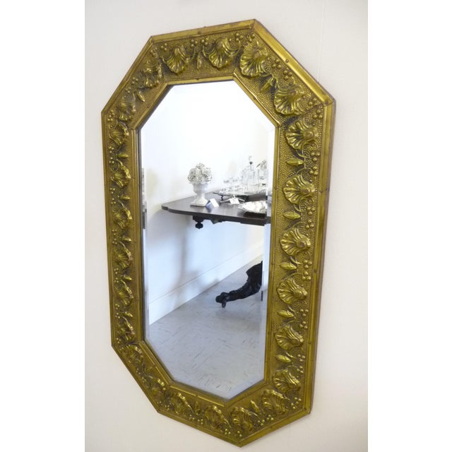 Antique Repousse Shell Brass Beveled Wall Mirror For Sale - Image 4 of 8