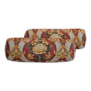 Custom Tailored Schumacher Floral Bolster Feather/Down Pillows - a Pair