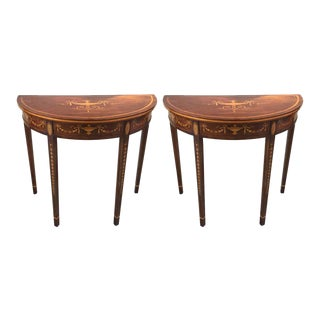 Hepplewhite Style Mahogany & Satinwood Demilune Consoles - A Pair For Sale