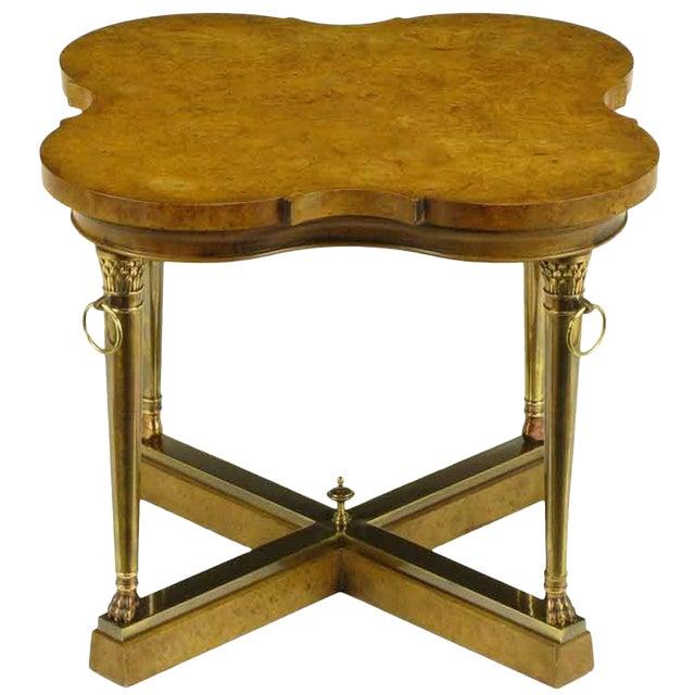 Mastercraft Empire Style Bronze and Burl Quatrefoil End Table For Sale
