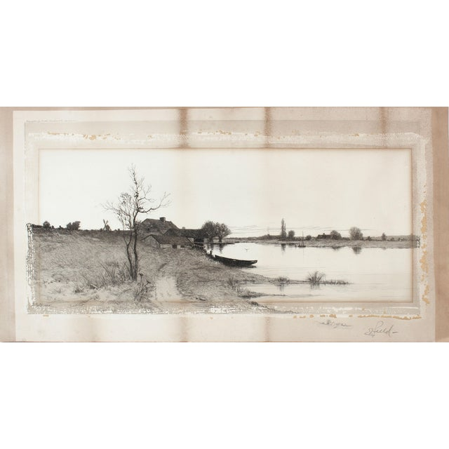 Impressionism 1890's Etching of a Winter Landscape For Sale - Image 3 of 4