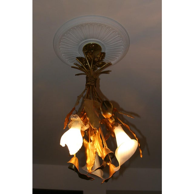 Contemporary Vintage French Art Nouveau Style Gilt Metal Three Light Chandelier For Sale - Image 3 of 8