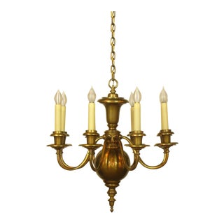 Early 20th Century Brass Eight Arm Colonial Style Chandelier For Sale