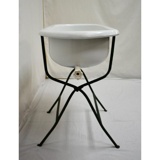 1930s Vintage Porcelain Enamel Baby Bath on Folding Wrought Iron Stand For Sale - Image 5 of 13