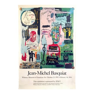 Jean Michel Basquiat Rare Original Lithograph Print Iconic Whitney Exhibition Poster 1992 For Sale
