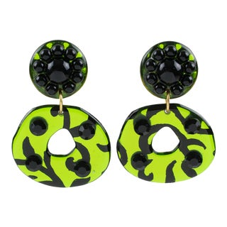Dangling Donut Lucite Clip Earrings Black Rhinestones and Green Mirror For Sale