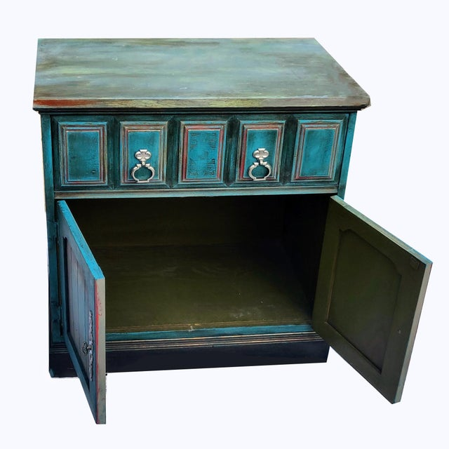 Patrick Briggs 'Blue' 2021 Refinished Wooden Nightstand Storage Credenza For Sale In Palm Springs - Image 6 of 9