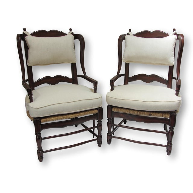 Large Ladder Back Wing Chairs - Pair - Image 2 of 7