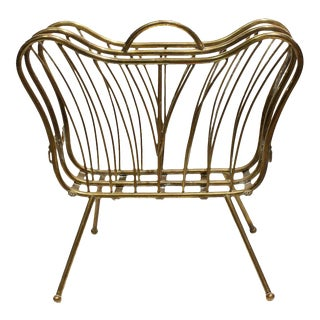 1960s Mid-Century Italian Brass Magazine Rack For Sale