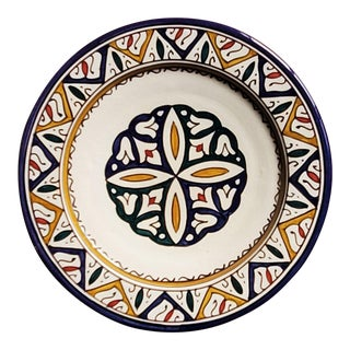 Moroccan Hand Painted Pottery Multi-Color 5 Plate For Sale