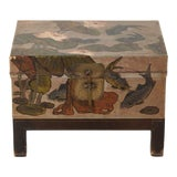 Image of 1920s Chinese Painted Lacquer Trunk on Stand For Sale