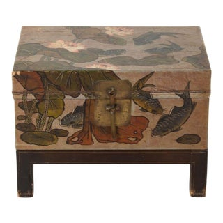 1920s Chinese Painted Lacquer Trunk on Stand For Sale