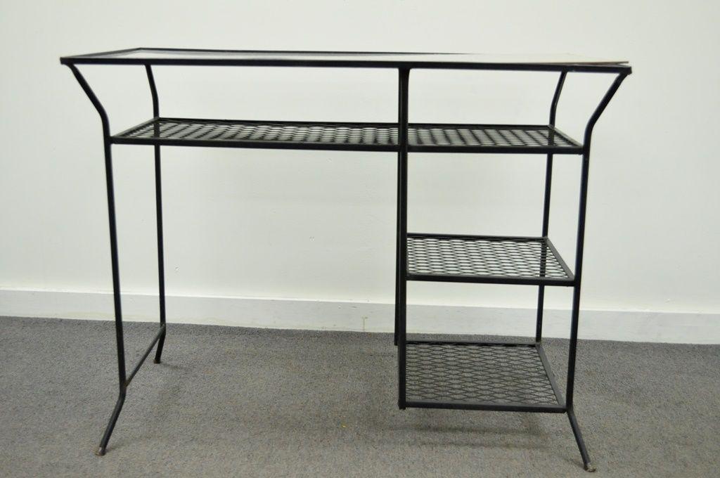 Mid Century Modern Vintage Mid Century Modern Wrought Iron Vanity Desk Chair  Hairpin Salterini Style