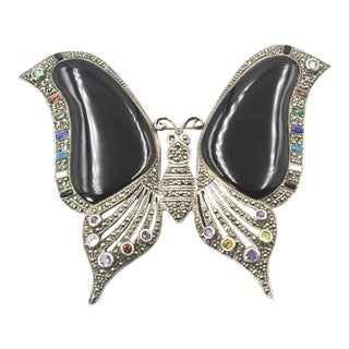 Large Butterfly Sterling Silver Marcasite Onyx Crystal Brooch For Sale