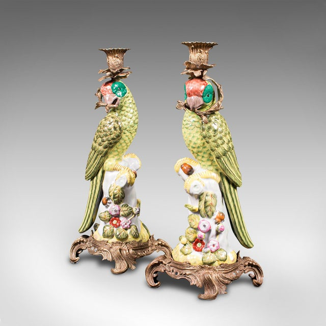 1980s Ceramic Oriental Decorative Candlesticks - a Pair For Sale - Image 4 of 13