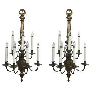 Williamsburg Style Brass Electrified Sconces - a Pair For Sale