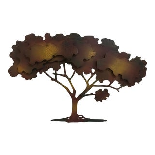 Modern Iron Tree Silhouette Cut Out Wall Hanging Sculpture For Sale