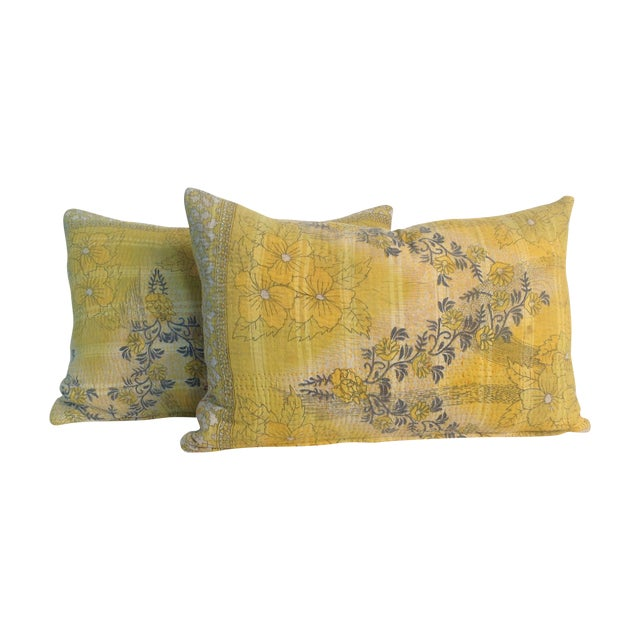 Vintage Yellow Kantha Quilt Pillows - A Pair For Sale
