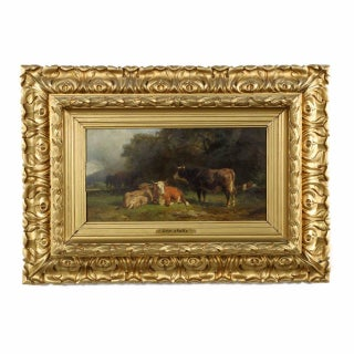 """Voltz """"Cowherd and Cattle Resting"""" Painting For Sale"""