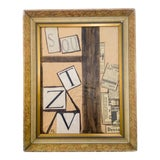 Image of Abstract Cubist Mixed-Media Painting For Sale
